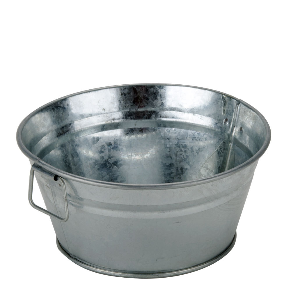 Galvanized tub small round rebel party rentals for Galvanized metal buckets small